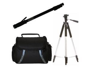 """57"""" Tripod + 67"""" Monopod + Case For Canon XF205, XF200 HF G30 Camcorders"""