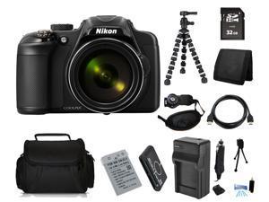 Nikon COOLPIX P600 16.1 MP Digital Camera with 32GB Bendable Tripod Holiday Kit