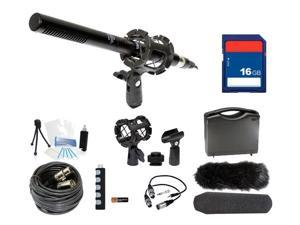 Microphone Broadcasting Kit + 16GB SD Memory Card for Canon EOS Rebel T6i, T6s, 5Ds, 5Ds R DSLR Cameras