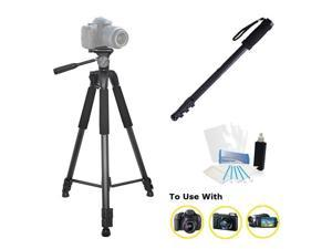 75-Inch Professional tripod + Monopod bundle for Canon EOS Rebel T5 EF-S DSLR