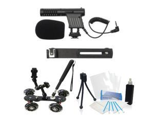 Beginner Mini Mic Kit with Skater Dolly for Pentax K-S2 K-S1 K-50 DSLR Cameras