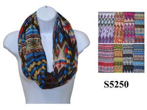 12 Pieces Wholesale Girls Lady Infinity Chevron Zig Zag Print Color Chunk Circle Double Loop Scarf Wrap