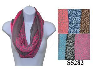 12 Pieces Wholesale Girls Lady Infinity Cheetah Print Color Chunk Circle Double Loop Scarf Wrap. S5282