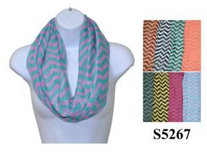 Wholesale Girls Lady Infinity Chevron Zig Zag Color Chunk Circle Double Loop Scarf Wrap. S5267