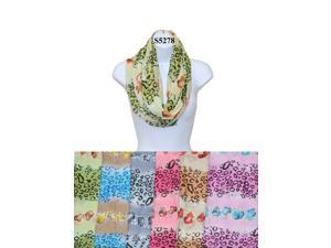 12 Pieces Wholesale Lot Women Lady Infinity Cheetah Print Fashion Scarf Color Block Chunk Circle Double Loop Wrap. S5278