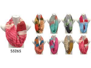 12 Pieces Wholesale Lot Women Infinity Scarf Geometric pattern Colors Circle Double Loop Wrap. S5265