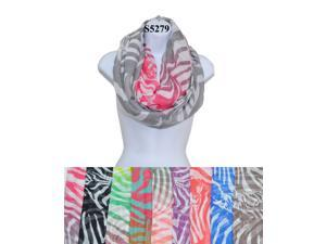 12 Pieces Wholesale Lot Women Infinity Zebra Print Color Block Chunk Circle Double Loop Scarf Wrap. S5279