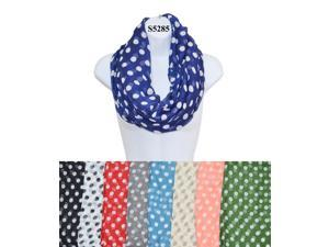 12 Pieces Wholesale Lot Women Infinity Polka Dot Pattern Block Chunk Circle Double Loop Scarf Wrap. S5285