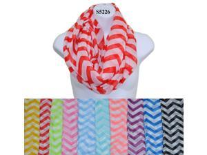 12 Pieces Wholesale Lot Women Infinity Chevron Zig Zag Color Block Chunk Circle Double Loop Scarf Wrap. S5226
