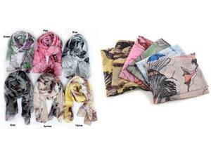12 Pieces Multi Color Begonia Flower Ink Style Neck Scarf Wrap Shawl Wholesale. S0908