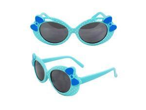 MLC Eyewear K0208-BUSM Kids Oval Sunglasses Blue Frame with Polka Dot Smoke Lenses Design with 3D Bow Tie.