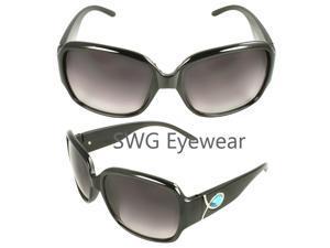 MLC Eyewear TU9198-BKBUPB Square Fashion Sunglasses Black Frame Enchanted with Rhinestone Purple Black Lenses