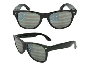 MLC Eyewear St. Jude Wayfarer Shades Fashion Sunglasses, Black United States American Flag
