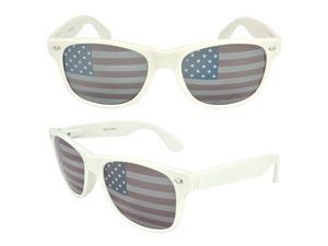 MLC Eyewear St. Jude Wayfarer Shades Fashion Sunglasses, White United States American Flag