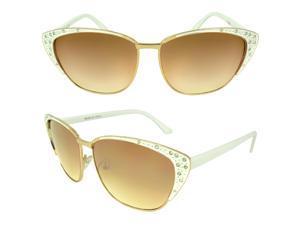 MLC  Eyewear 'Neoma' Cat Eye Fashion Sunglasses in White-gold