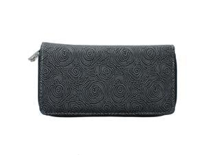 Unico Fashion Women's Faux Leather Dual Zip Compartment Wallet in Black