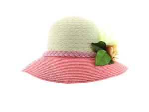 Faddism Stylish Women Summer Straw Hat with Floral in Pink White