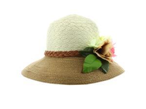 Faddism Stylish Women Summer Straw Hat with Floral in Tan White