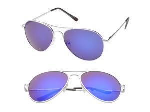 MLC Eyewear 'Kingsburg' Aviator Fashion Sunglasses in Silver Frame Blue Lenses
