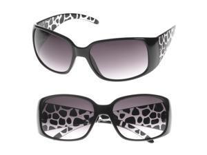 MLC Eyewear 'Anisa' Rectangle Fashion Sunglasses in Black Frame Black White Temple