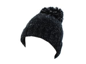 Kate Marie 'Abbi' Cable Knit Pompom Beanie in Black