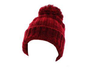 Kate Marie 'Abbi' Cable Knit Pompom Beanie in Red