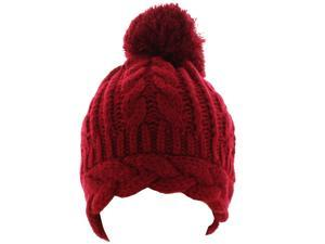 Kate Marie 'Angie' Cable Knit Pompom Beanie in Red