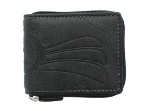 YL Fashion Men's Leather Zip-around Wallet in Black