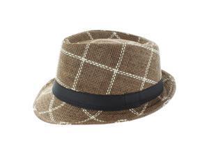 Faddism Fashion Plaid Fedora Hat in Brown