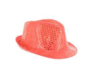 Faddism Fashion Sequin Fedora Kids Hat in Red