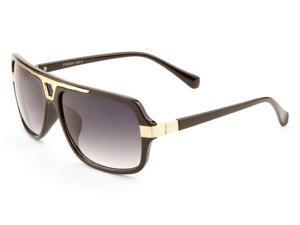 MLC Eyewear 'Ford' Flat Top Rectangular Aviator Sport Fashion Sunglasses Black-gold