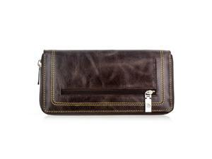 Faddism YL Series Women's Leather Zip-Around Wallet WLT-T-484 Brown
