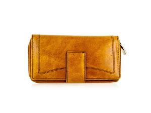 Faddism YL Series Women's Leather Zip-Around Wallet WLT-T-101 Dark Mustard