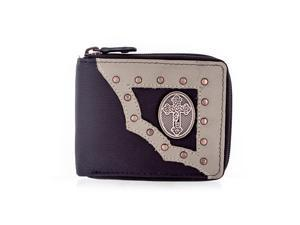 Faddism YAALI Series Men's Genuine Leather Cross Symbol Emblem Studded Zip-around Bifold Wallet