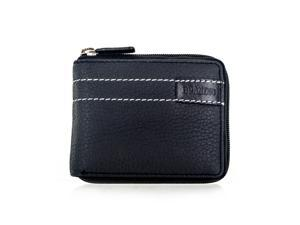 Faddism Brandio Series Men's Leather Zipper Bifold Wallet WLT-CN-1308 Black