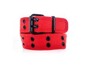 Faddism Unisex Dual Row Grommets Canvas Web Belt, Large
