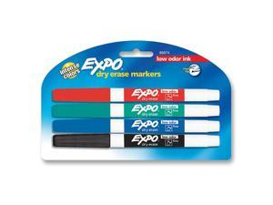 Expo Dry Erase Markers, Low Odor, Fine Point, Assorted, 4 Colored Markers