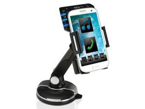 GOgroove FlexSMART SP4 Car Kit + Windshield Dashboard Cradle Mount Holder and FM Transmitter w/ Audio Music Playback, Handsfree Calling & Charger for HTC One Max , Galaxy S4 , Nexus 4 & More!