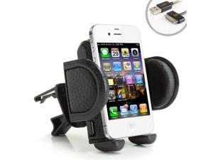 USA Gear Car Air Vent Mount Holder & Display Cradle - Will fit Apple iPhone 5s , 5c , 5 , 4S , 4 , 3GS , 3G / iPod Touch - Includes USB 30-Pin Charge & Sync Data Cable