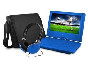 "Ematic EPD909 Portable DVD Player - 9"" Display - 640 x 234 - Blue - DVD-R, CD-R - JPEG - DVD Video, Video CD, MPEG-4 - CD-DA, MP3 - 1 x Headphone Port(s) - Lithium Polymer - 2 Hour"