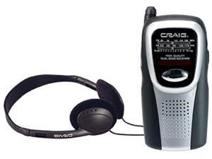 Craig Electronics Inc CS2500 AM-FM Pocket Radio With Speaker & Headphones