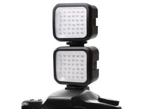 ENHANCE 2-Pack Rechargeable Ultra-Bright LED Camera Light with Built-In Diffuser and Dual Mounting - Works With Canon EOS 80D , Sony SLT-A68 , Pentax K-70 and More