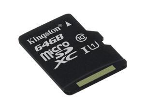 Kingston 64GB microSDXC Flash Card Single Pack w/o Adapter Model SDC10G2/64GBSP