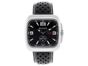 Gucci G Coupe Steel Bracelet Black Dial Mens Watch YA131302