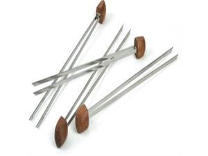 Charcoal Companion Rosewood handle Double Prong Grilling Kabob Skewers, Set of 4