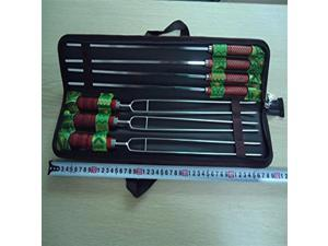 New 7 PCS Gril BBQ Skewer Roast Tool Camping Barbecue Needle / Fork Skewers Tools Wooden Handle Stainless Steel