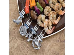 Charcoal Companion Double Prong Coastal Grilling Kabob Skewers (Set of 4) - CC5093