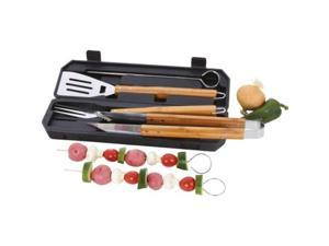 Chefmaster 8pc Stainless Steel Barbeque Tool Set With Bamboo Handles