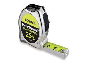 Komelon 425IEHV High-Visibility Professional Tape Measure Bother Inch and Engineer Scale Printed 25-Feet by 1-Inch, Chrome by Komelon USA