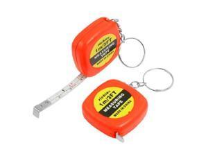 2 Pcs Multifunction Orange Red Case 1 Meter 3 Feet Mini Tape Measure w Key Ring